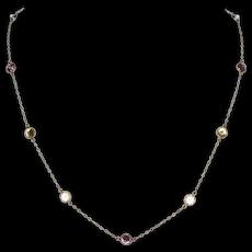 14K Gold Bezel Set Multi-Color Cubic Zirconia Necklace