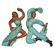 Universal Statuary Mid-Century Modern Turquoise Blue Speckled Ceramic Dancing Spanish Man & Woman Wall Plaques