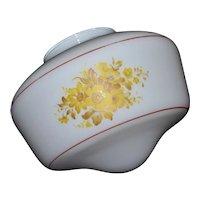 1960s Yellow Daisy White Mushroom Style Glass Globe