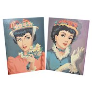 1950s Set of 2 Elegant Lady Paint By Number Art Paintings