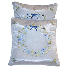 Pair of Hand-Stitched & Embroidered Blue Satin Flower & Bow Accent Pillows