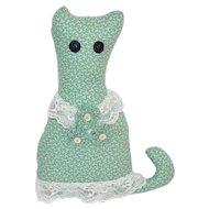 Primitive Cat w/ Button Eyes Fabric & Lace Pillow