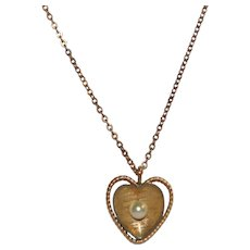 Krementz Cultured Pearl Gold Plate Heart Pendant Necklace
