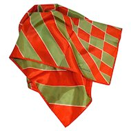 Ricardo Orange & Green Diamond Shapes & Stripes Signature Scarf