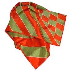 Ricardo Orange & Green Diamond Shapes & Stripes Signature Scarf
