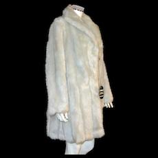 Glenoit Silver Gray Faux Mink Fur Mid-Length Coat