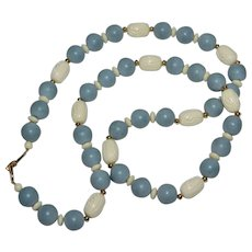 Napier Long Blue & Carved Cream White Bead Necklace