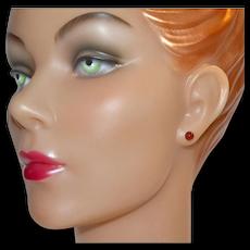 Carnelian Stud 14K Gold Post Pierced Earrings