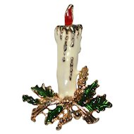Enamel Christmas Candle Pin/Brooch