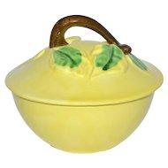 1940s Belmar California Pottery Figural Pear Yellow Bowl w/ Lid