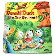1956 Walt Disney Donald Duck and the New Birdhouse Tell-A-Tale Hardcover Book