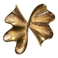 Large Ruffled Bow Goldtone Brooch/Pin