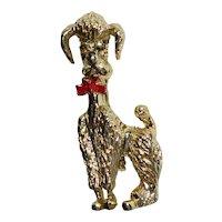 Red Enamel Bow Goldtone Poodle Pin/Brooch