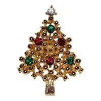 Unsigned Eisenberg Colorful Rhinestone Christmas Tree Lapel / Tie Tack Pin