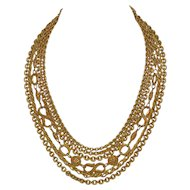 1950s Etruscan Style Multi-Strand Designer Goldtone Chain Necklace
