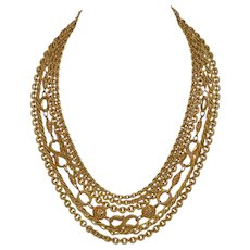1950s Etruscan Style Multi-Strand Designer Goldtone Chain Necklace