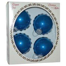 Krebs Elegant Glass 'Bubble Gum Velvet' Large Blue Christmas Ornaments in Original Box