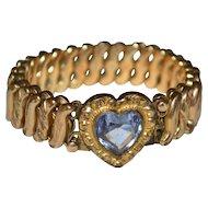 D.F. Briggs Art Deco Amethyst Glass Heart Sweetheart Expansion Stretch Bracelet