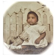 1920s Large Original Photo of African American Baby Girl with Toy Dog