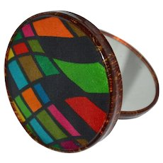Harlequin Fabric & Lucite Double Mirror Compact