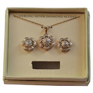 Diamond & Sterling Silver Flower Earrings & Pendant Necklace w/ Box