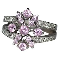 Sterling & Pink Cubic Zirconia Cluster Cocktail Ring ~ Size 7