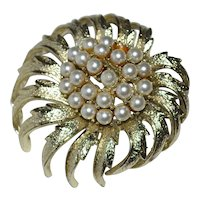 """Coro Signed 2"""" Faux Pearl Cluster Brooch/Pin"""