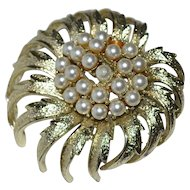 "Coro Signed 2"" Faux Pearl Cluster Brooch/Pin"