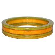 Set of 4 Butterscotch Yellow & Swirled Green Bakelite Bangle Spacer Bracelets