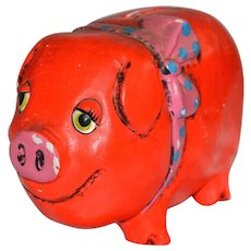 Cutest Pink & Orange Folk Art Pig Paper Mache Bank