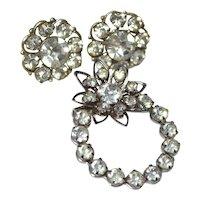 Darling Rhinestone Earrings & Matching Flower Brooch/Pin