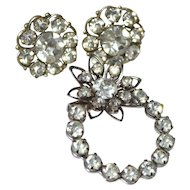 Darling Rhinestone Earrings & Matching Flower Brooch/Pin