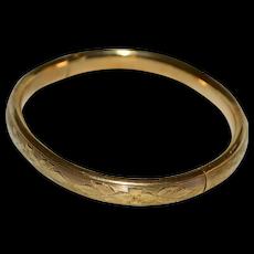 Antique Victorian JMF Co 12K Gold-Filled Etched Flower Domed Bangle Bracelet