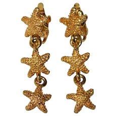 Bumpy Textured Starfish Goldtone Clip Earrings