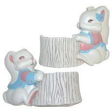 Set of 2 Burwood Products Bunny Rabbit Nursery or Easter Planters