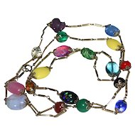 "Gorgeous 54"" Deco Germany Blown Art Glass Candy Bead & Filigree Brass Link Necklace"