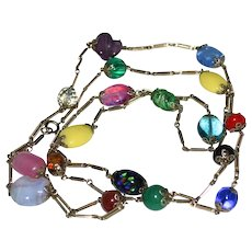 """Gorgeous 54"""" Deco Germany Blown Art Glass Candy Bead & Filigree Brass Link Necklace"""
