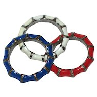 1960s Set of 3 Red, White & Blue Enamel Bamboo Design Rings for the Patriotic American