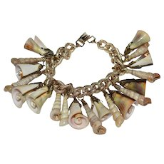 Chunky Germany Made Natural Spiral Shell Charm Bracelet