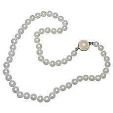 Carolee Signed Classic Simulated White Pearl Bead Necklace