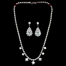 1950s Rhinestone Teardrop Earrings & Choker Necklace Set