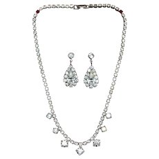 1950s Rhinestone Teardrop Earrings & Choker Necklace Set