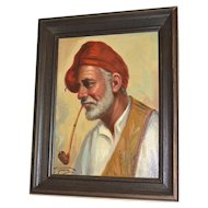Giorgia Fraia 20th C Italian Artist 'Old Man Smoking Pipe' Framed Oil on Canvas Painting
