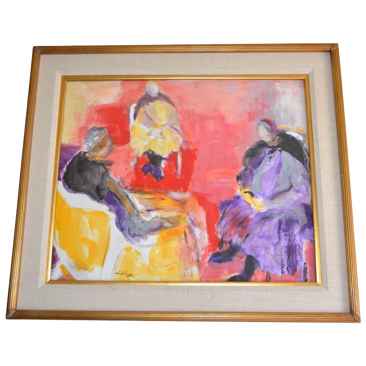 Irving Lehman 20th C Russian American Artist Original Abstract Expressionist Gouache Painting In Wood Linen Frame
