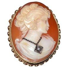 Fine 14K Gold 'Head of Flora' Roman Goddess Shell Cameo Habille w/ Diamond Necklace Pendant/Brooch/Pin