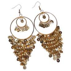 Shimmering 1970s Huge Goldtone Sequin Hoop Pierced Dangle Earrings