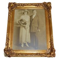 Amazing 12x16 Original Art Deco Wedding Photo ~ Portrait of Bride & Groom in Regency Style Gold Gilt Frame