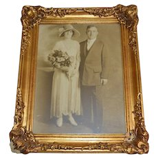 Amazing 12x16 Original Art Deco Wedding Photo ~ Portrait of Bride & Groom in Regency Style Gold Gilt Frame