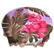 New Old Stock OSCAR DE LA RENTA Red Hibiscus Flower Designer Rayon Scarf w/ Original Tag