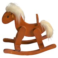 Folk Art Style Solid Wood Rocking Horse with Furry Mane & Tail